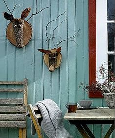 signed by tina: Cooling Aqua. Outdoor Projects, Garden Projects, Garden Ideas, Art Textile, Oh Deer, Nature Crafts, Yard Art, Garden Inspiration, Outdoor Gardens