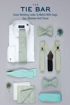 The perfect Shirts, Ties and Accessories to match with a Sage, Spa, Meadow And Clover Wedding. Starting at $8 at www.TheTieBar.com