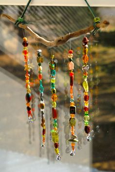 Crafts Wind Chimes Suncatcher Crystal Prism Mobile by EvermoreSuncatchers on Etsy Driftwood Crafts, Wire Crafts, Bead Crafts, Diy Wind Chimes, Diy Arts And Crafts, Fun Crafts, Garden Crafts, Beads And Wire, Hanging Art