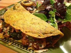 """Chickpea Omelets with Mushrooms, Greens and Vegan Swiss 