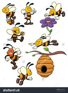 Cute Cartoon Honeybees. All Elements In Different Layers For Easy ...