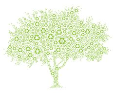 Royalty-free Illustration: Tree composed of recycle symbols