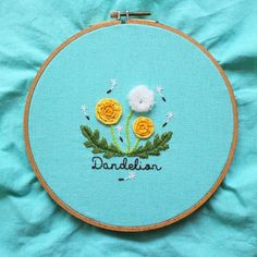 Embroidery Satin Flower Dandelion Flower Hand Embroidery Pattern PDF with Video Tutorial - Iron On Embroidery, Learn Embroidery, Embroidery Needles, Machine Embroidery, Embroidery Hoops, Embroidery Supplies, Flower Embroidery, Embroidery Stitches Tutorial, Hand Embroidery Patterns
