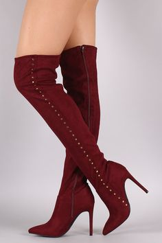 Anne Michelle Stretchy Suede Side Studded Over-The-Knee Boots - Gioellia…