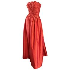1950s Werle of Beverly HIlls Couture Red Strapless Silk Shantung Crochet Gown   From a collection of rare vintage evening-gowns at https://www.1stdibs.com/fashion/clothing/evening-dresses/evening-gowns/