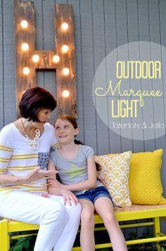 Easy DIY outdoor wood marquee light!