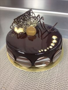 Dark chocolate glaze entremet #nlc #pastries #normanloveconfections