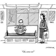 A new take on upavista konasana and hogging subway seats :-) from The New Yorker #yoga #humor