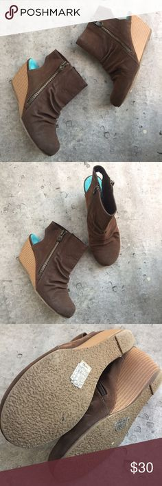 Blowfish Brown Suede Wedge Ankle Cutout Booties Gently used booties by Blowfish. NO PAYPAL OR TRADES.                              👠Blog: willbakeforshoes.com 🐥Twitter: @willbakeforshoe 📷Instagram: @willbakeforshoes Blowfish Shoes Ankle Boots & Booties