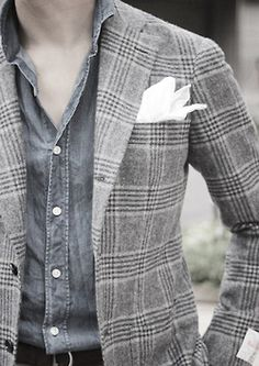 Great glen plaid coat Formal Jacket, Denim Shirt, Jeans, Sharp Dressed Man, Blazers, Business Casual Outfits, Outfit Combinations, Gentleman Style, Looks Cool