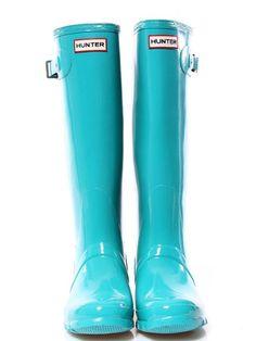 light blue Hunter rain boots