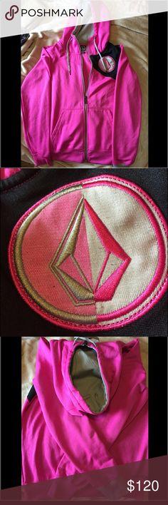 Pink Volcom Fleece Hoodie Great for snowboarding. Fleece inside Volcom Sweaters