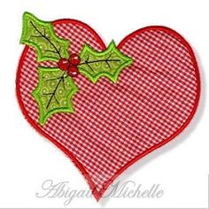 Holly Heart Applique - 3 Sizes!   Christmas   Machine Embroidery Designs   SWAKembroidery.com Abigail Michelle