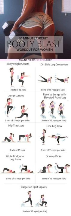 30 Minute Circuit Booty Blast Workout - A killer 30 minute workout designed to target your glutes, developing a larger, rounder booty! Full exercise descriptions in article. Fitness Workouts, Fitness Motivation, Sport Fitness, Yoga Fitness, At Home Workouts, Health Fitness, Butt Workouts, Exercise Motivation, Quick Workouts