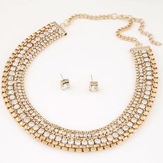 Wedding jewelry Accessories Trendy Gold Plated Jewelry Sets Collares Women Jewelry Fashion Necklace Earring Sets Fine Jewelry