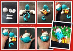 Smurf (and more!) NooN beaded jewellery: step by step marzipan figures by Gabriela Doležalová Cake Topper Tutorial, Fondant Tutorial, Cake Toppers, Marzipan, Fondant Figures, Clay Projects, Clay Crafts, Foundant, Sugar Craft
