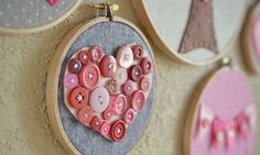 Valentine's Day button heart embroidery hoop art--cute and easy project (fun for kids too!) #valentine #craft #kids