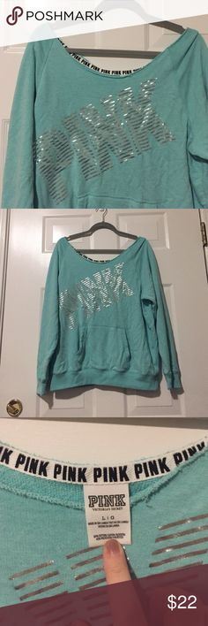 Victoria Secret Pink sweater Victoria Secret Pink sweater. Size large. Off shoulder. EUC. Over sized, could fit up size extra large. Kangaroo pocket. No rips, stains or tears. Too big for me now. Price firm. PINK Victoria's Secret Sweaters