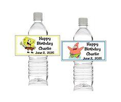 10 Newv Sponge Bob Personalized Birthday Water Bottle Lab…