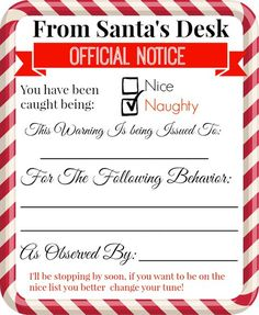 Free Printable Elf On A Shelf Naughty  Nice Notices  Diy Ideas
