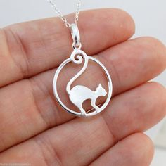 Cat Necklace - 925 Sterling Silver - Kitty Fancy Charm Feline Cat Jewelry *NEW* #FashionJunkie4Life #Pendant