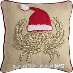 Coastal Santa Claws Pillow
