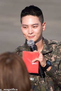 Joo Won during his military enlistment - He was one of the emcees and performers at the 2017 Gyeryong Military Culture Festival.