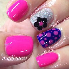 Studded flower and some polka dots  By:madicures