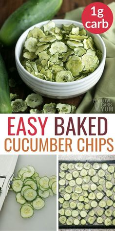 These baked cucumber chips with salt & vinegar flavor are perfect for healthy snacks on the go. Enjoy these keto chips for low carb snacks on the go. The post Baked Cucumber Chips Salt and Vinegar appeared first on Tasty Recipes. Cucumber Chips, Cucumber Recipes, Diet Recipes, Healthy Recipes, Cucumber Salad, Cucumber Ideas, Tomato Salad, Recipes For Cucumbers, Salad Recipes