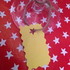 6 marques verres jaune papier épais cartonné fêtes noel
