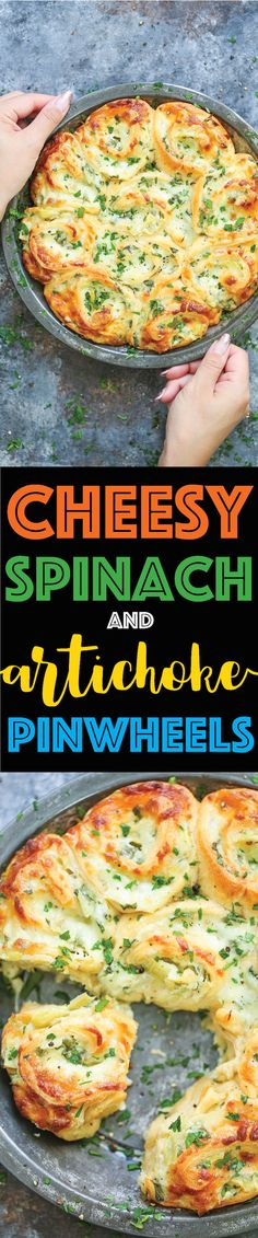 Cheesy Spinach and Artichoke Pinwheels - Damn Delicious Yummy Appetizers, Appetizer Recipes, Appetizers For Party, Dinner Recipes, Sandwich Recipes, Vegetarian Recipes, Cooking Recipes, Healthy Recipes, Cooking Cake