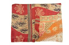Kantha Throw RED BEIGE AND BLUE DESIGN. REVERSE ORANGE AND PINK Detailed description: Beige and dark blue design on red background. Orange flower design with pink panel. 100% cotton. Machine washable. 135cm x 215cm £95.00 + £6.50 shipping http://www.camillacostello.co.uk/products-page/throws-kantha/