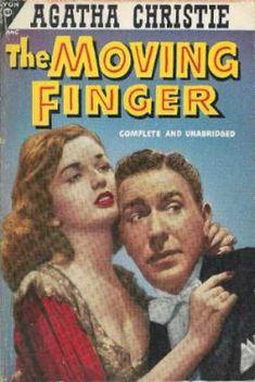 """Avon Books 484 The Moving Finger-Agatha Christie - j'apprécie moins ce genre d'illustration, déjà un peu datée pour moi, mais surtout qui fait figurer des visages, alors que je ne les imaginais pas du tout comme cela, je préfère les illustrations """"FONTANA"""" qui sont plus mystérieuses et intrigantes"""