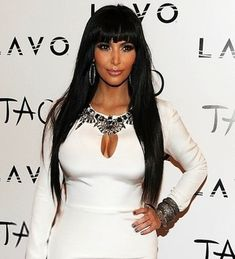 Custom Kim Kardashian Bangs Hairstyle Long Straight 24 Inches Shiny Black Wig