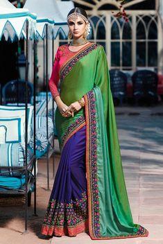 79ba2df0652e40 Green Art Silk Heavy embroidered half saree Sku 518184