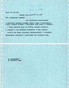 Soviet leader Nikita Khrushchev (translation below). | 9 Heartfelt Condolence Letters Jackie Kennedy Received From Famous People