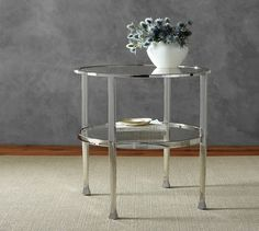 "Tanner Round Side Table - Polished Nickel finish | Pottery Barn, 24""D x 24""H, $499"