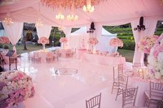 pink tented wedding reception