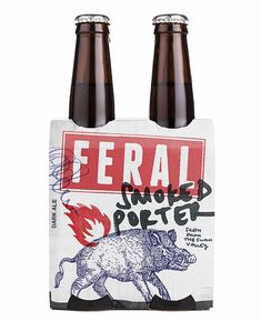 Feral Brewing Company beer packaging designed by Block Branding. ( - Great overlapping and simple imagery. Food Packaging Design, Coffee Packaging, Bottle Packaging, Packaging Design Inspiration, Chocolate Packaging, Porter Beer, Beer Label Design, Beer Brands, Brewing Company