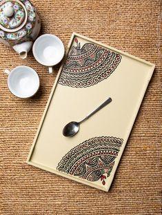 Madhubani Art – Painted Wooden Tray - Sites new Mandala Art, Mandala Drawing, Wall Painting Decor, Dot Art Painting, Madhubani Art, Madhubani Painting, Wooden Art, Wood Wall Art, Wooden Trays