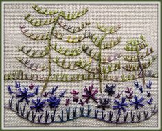 A12 x 10cm picture, framed in Picnik. All in the stitch, except the Stem Stitch tree trunks. Stitched with varigated threads, Fine Perle by Stef Francis, and Wildflowers by Caron, on 20 count Lugana.