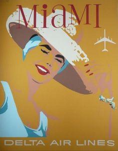 1960s Miami travel poster