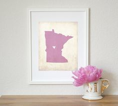 Minnesota Love State Map Personalized 8x10 Art by meredithpdesigns, $18.00