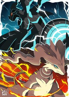 Zekrom and Reshiram Pokemon Poster, Pokemon Fan Art, Pokemon Noir, Pokemon Dragon, Pikachu Art, Black Pokemon, All Pokemon, Cool Pokemon Wallpapers, Pokemon Backgrounds