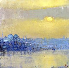 Towards Rustempasa with Süleymaniye Mosque, evening Oil on panel - Andrew Gifford