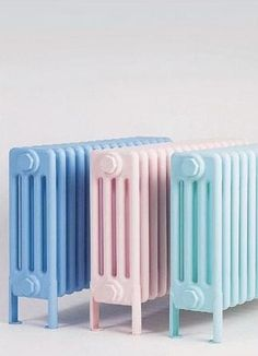Classic radiators in pastel colours! Who remembers these retro heaters! Soft Colors, Pastel Colors, Pastel Shades, Pastel Blue, Soft Pastels, Pink Blue, Color Inspiration, Interior Inspiration, Interior Ideas