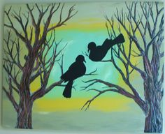 Birds at Dusk - 24X30 Acrylic, Oil Pastels on Wood Board via Etsy