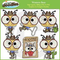 Western Bees Clip Art