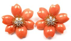 View this item and discover similar for sale at - White Gold 'Rose de Noel' Diamond & Coral of Pearl Flower Earrings by Van Cleef & Arpels. These earrings are clips, made for non pierced ears. Coral Earrings, Flower Earrings, Clip On Earrings, Coral And Gold, Van Cleef Arpels, Pearl Flower, Ear Piercings, Fine Jewelry, Jewellery