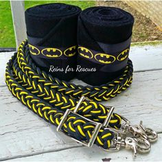 """Make a statement and stand out from the crowd with this """"Batman"""" tack set! The bright contrasting colors of the set will be hard to miss wherever you go! Great whether you ride English, Western, Trail"""